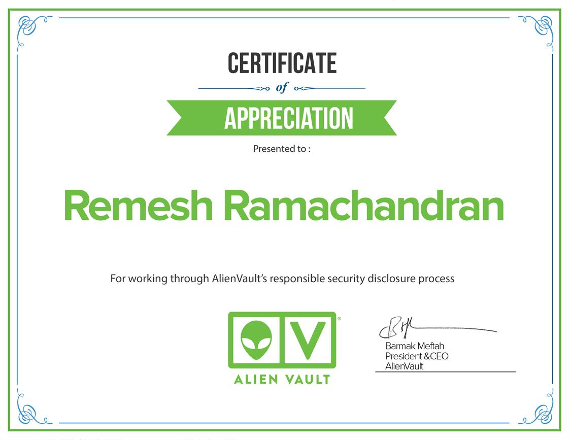 Certificate of Appreciation from Alien Vault