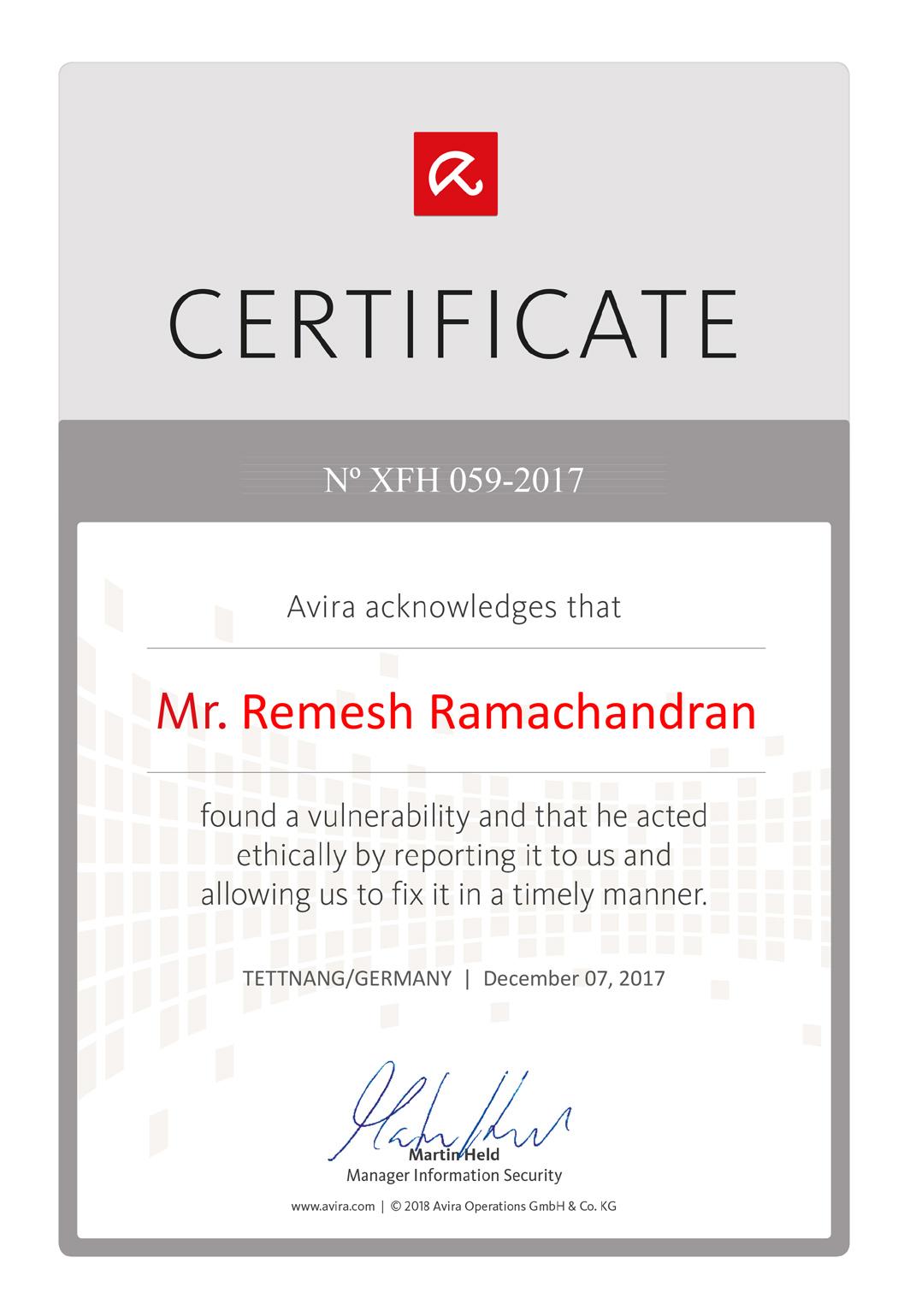 Avira Acknowledges Certificate