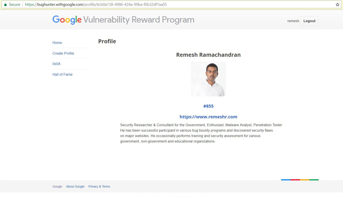 Google Hall of Fame – Remesh Ramachandran