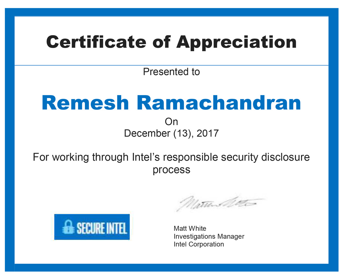 Intel Security Acknowledgement – Remesh Ramachandran