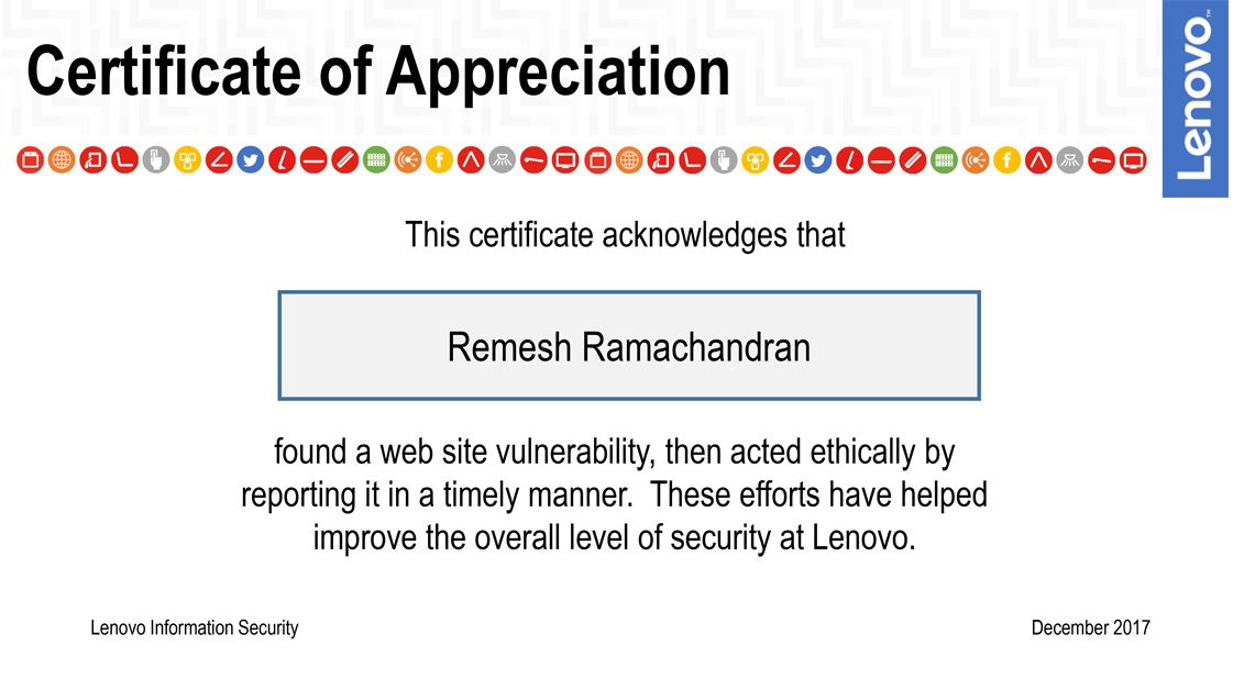 Certificate of Appreciation from Lenovo