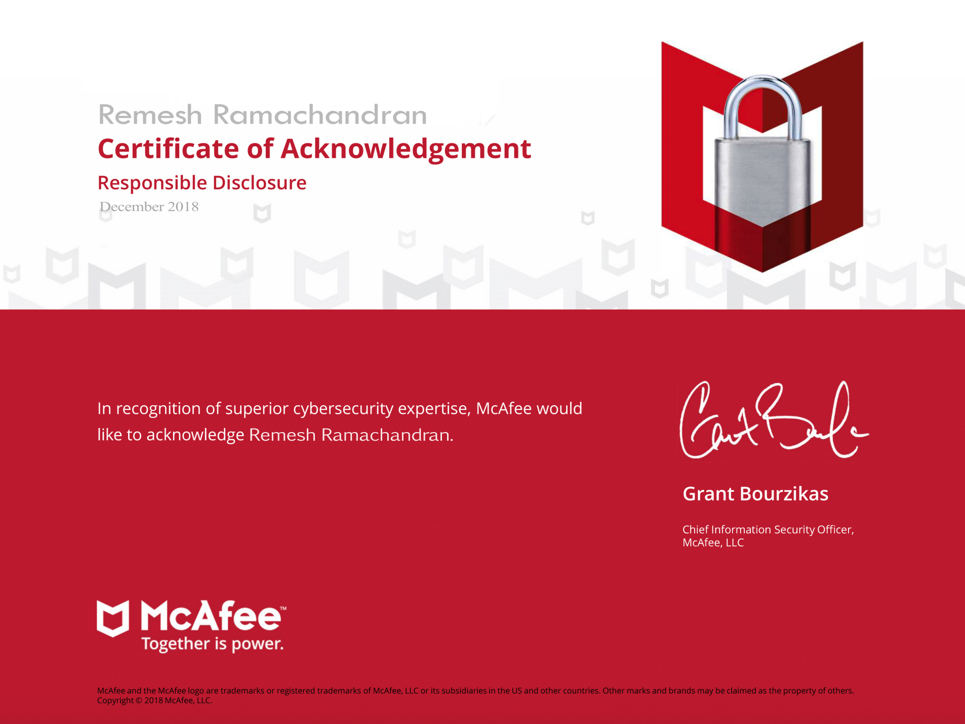 McAfee Acknowledgement – Remesh Ramachandran