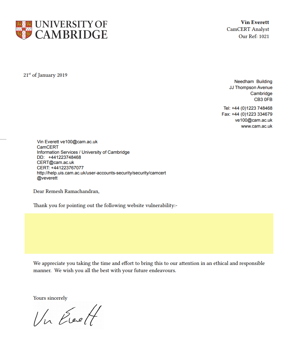 University of Cambridge Acknowledgement – Remesh Ramachandran