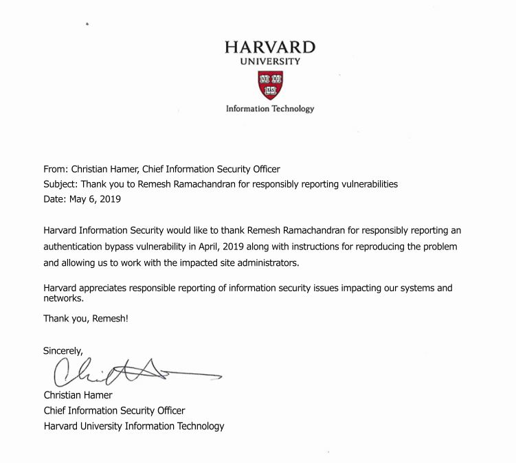 Harvard University Security Bug Acknowledgement