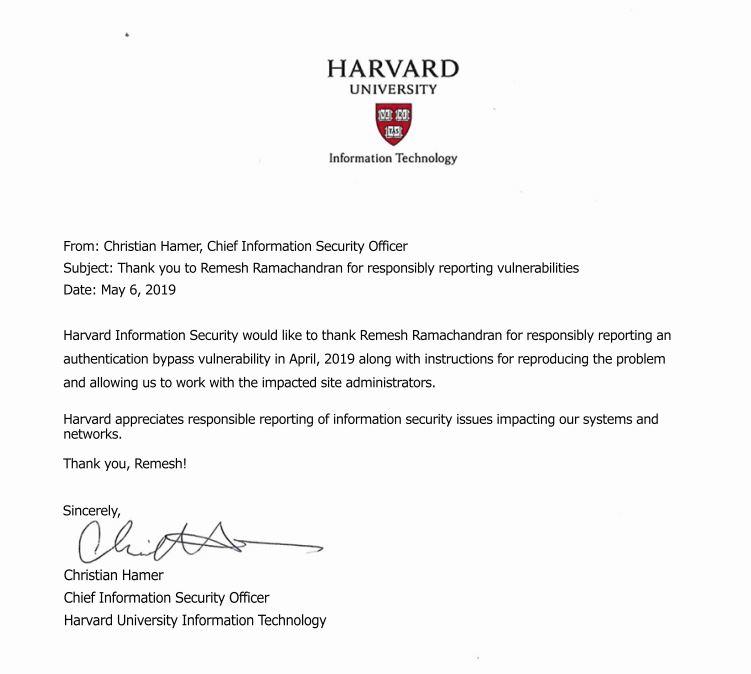 Harvard University Security Bug Acknowledgement
